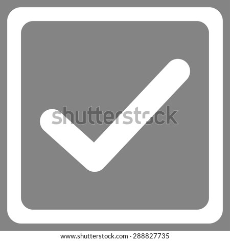 Checked checkbox icon from Business Bicolor Set. This flat raster symbol uses white color, rounded angles, and isolated on a gray background. - stock photo