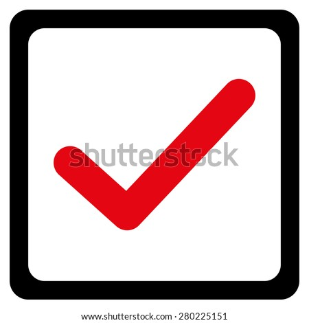 Checked checkbox icon from Business Blood Bicolor Set. This isolated flat symbol uses intensive red and black colors. - stock photo
