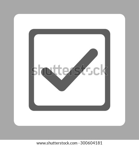 Checked checkbox icon. This flat rounded square button uses dark gray and white colors and isolated on a silver background. - stock photo