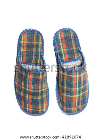 Checked colorful slippers isolated over white background