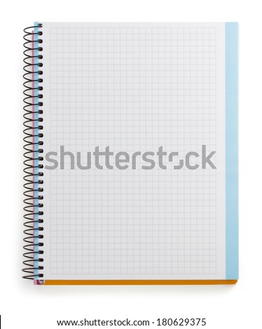 checked notebook isolated on white background - stock photo