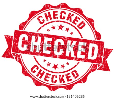 checked red grunge stamp - stock photo