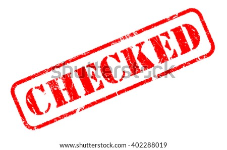 CHECKED rubber stamp text on white - stock photo