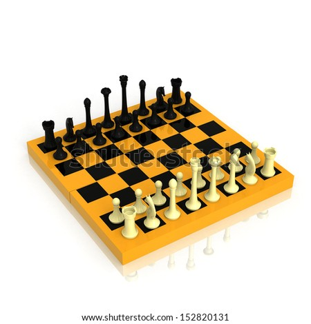 Checker board with a full set of figures 3d rendered on white background