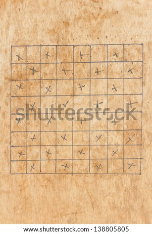 Checkerboard an old. - stock photo