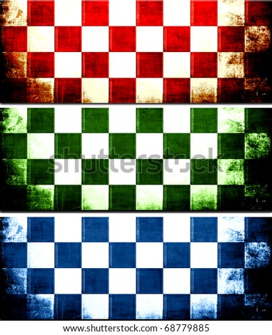 Checkerboard Grunge Banner Set - stock photo