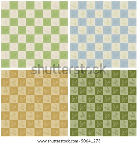 Checkerboard Leaves Pattern RASTER Version - stock photo