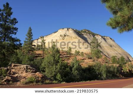 Checkerboard Mesa Mountain in Zion National Park, Utah, USA - stock photo