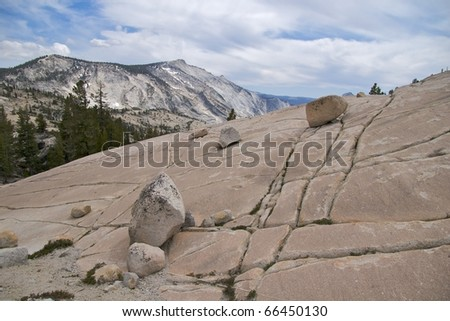 Checkerboard rock at Olmsted Point,  Yosemite National Park, CA - stock photo