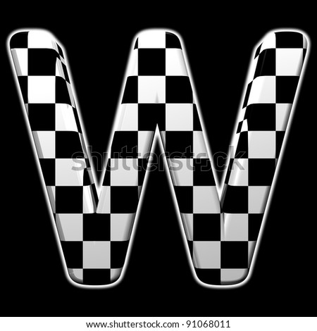 checkered ABC, letter W isolated on black background - stock photo