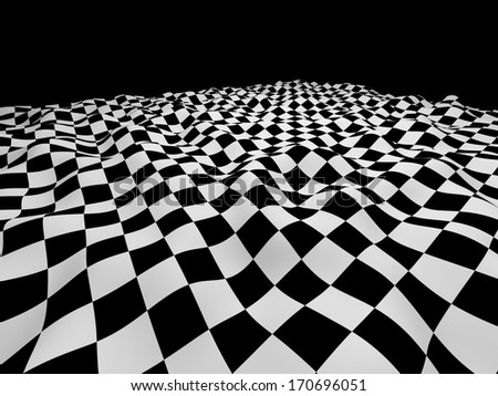 Checkered black and white abstract wavy background - stock photo