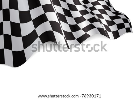 Checkered black and white flag background illustration with shadow - stock photo