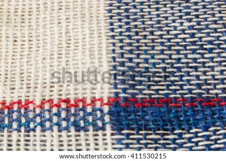 Checkered blue fabric  - stock photo