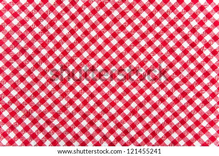 Checkered cloth background. Red and white table cloth texture. abstract background, top view - stock photo