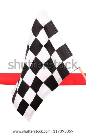 Checkered finish flag isolated on white - stock photo