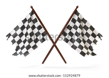 Checkered finish flags for racing isolated on white - stock photo