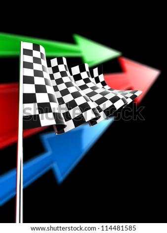 Checkered Flag - stock photo