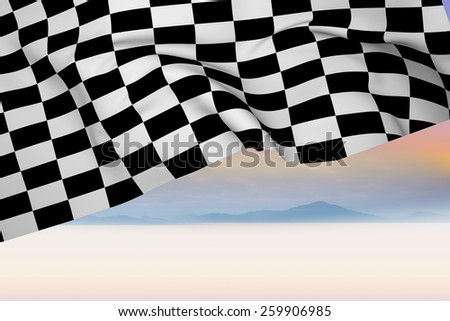 Checkered flag against serene landscape