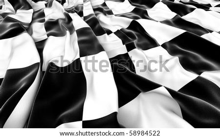 Checkered flag - 3D render - stock photo