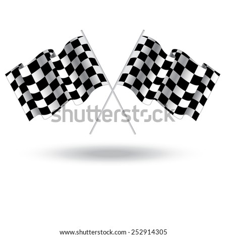 Checkered flag for car racing. Illustration isolated on white background. Two Finish flag. Race flag. finish illustration. Waving Checkered flag