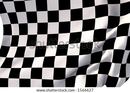 Checkered flag in the wind.