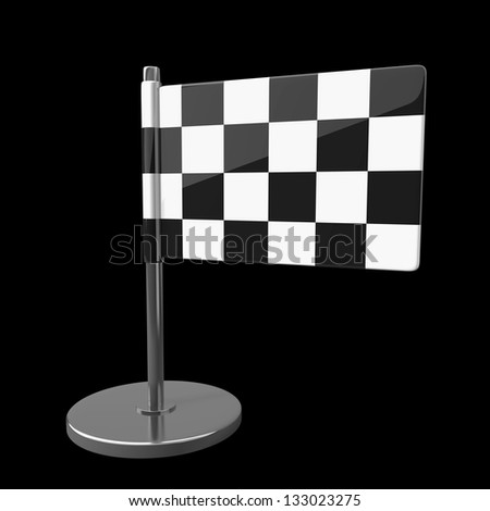 Checkered Flag isolated on black background. high resolution 3d illustration
