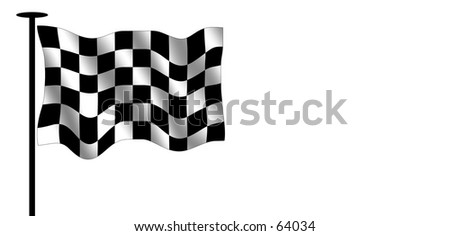 Checkered flag. Often seen in speed races. - stock photo