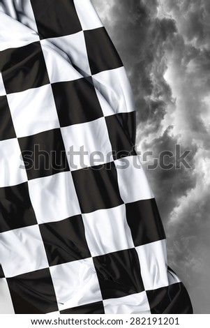Checkered flag on a beautiful bad background - stock photo