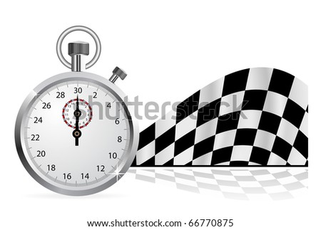 Checkered flag with a stopwatch on white background - stock photo