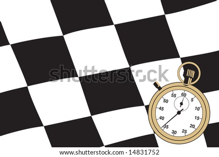 Checkered flag with a stopwatch. Vector illustration