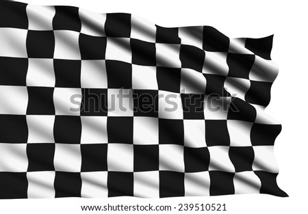 checkered flag with fabric structure (clipping path)