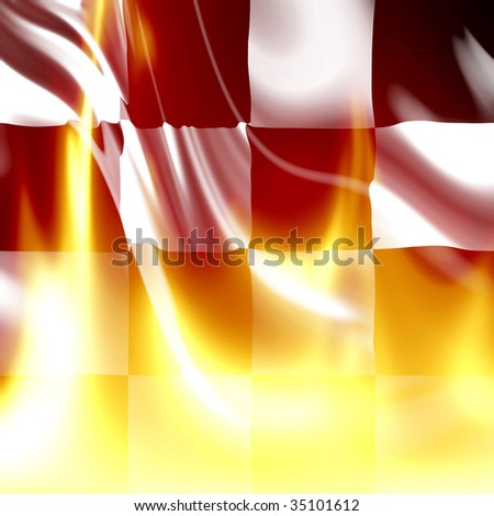 Checkered flag with some bright flames on it