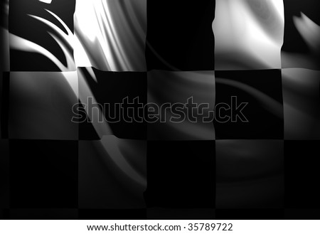 Checkered flag with some folds in it - stock photo