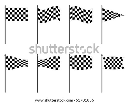 checkered flags collection against white background, abstract art illustration; for vector format please visit my gallery