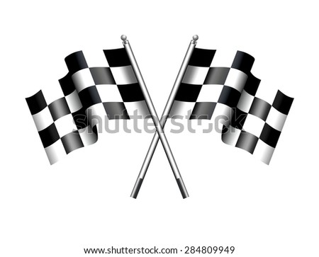 Checkered Flags Motor Racing -- Rippled black and white crossed - Raster Version - stock photo