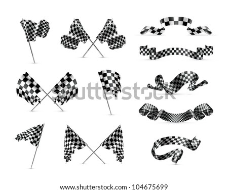 Checkered flags set, bitmap copy