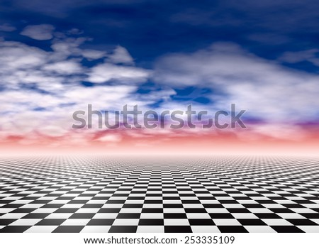 Checkered floor, cloudy sky background - stock photo