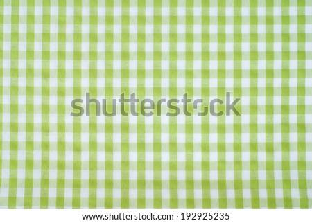 checkered green linen textile - stock photo