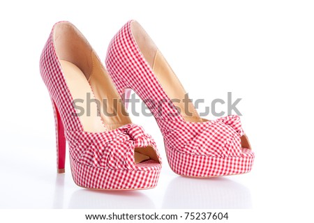 checkered high heel shoes on the white - stock photo