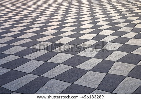 Checkered Pattern Tiles at Place Massena in Nice