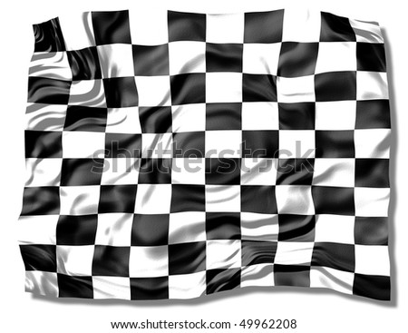 checkered racing flag - isolated on white - stock photo