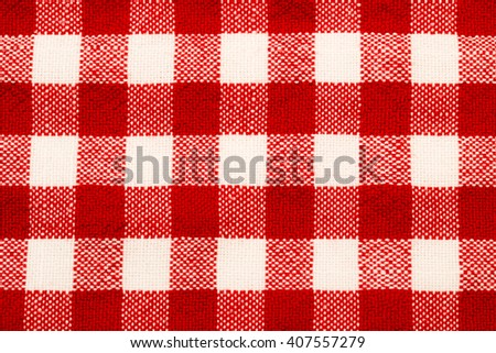 Checkered red white tablecloth frame background - stock photo