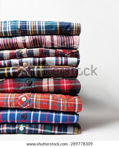 checkered shirts close up with shadows - stock photo