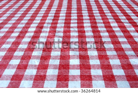 Checkered tablecloth for background - stock photo