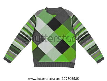 checkered woolen sweater isolated on white background - stock photo