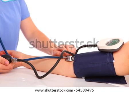 checking blood pressure, stethoscope - stock photo