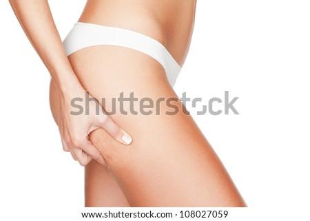 Checking cellulite - stock photo