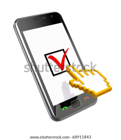 Checking (3D concept with the phone and cursor) - stock photo