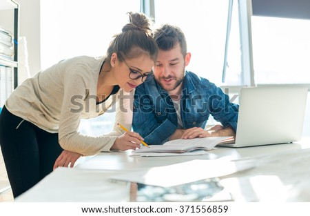 Checking documents - stock photo