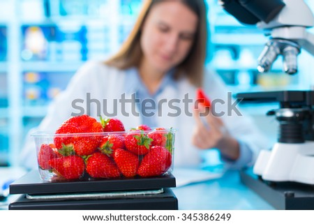 checking food Strawberries, on the content herbicides and pesticides - stock photo